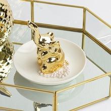 Keraamilised kuldsed elevandid Kodu Dekoratiivsed aksessuaarid Elegantne magamistoa ehted Ladustamise hoidja Figuriinid Girl Friend