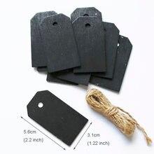 Placa de madeira preta, placa-negro de madeira para pendurar etiquetas de preço, papelaria, notificação e escrita com corda, 10 peças