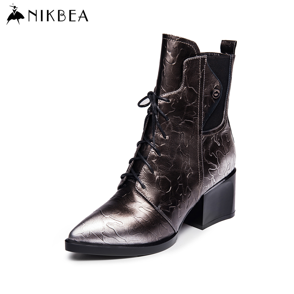 Nikbea Retro Western Boots Cowboy Boot Genuine Leather Chunky Heel Botines Mujer 2016 Autumn Winter  Lace Up Punk Martin Boots nikbea vintage western boots cowboy ankle boots for women pointed toe boots winter 2016 autumn shoes pu chunky low heel booties