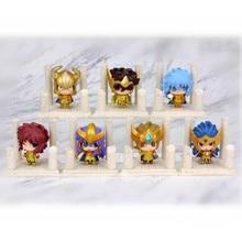 7pcs/lot Anime Saint Seiya Egg Box Q Version The Gold Zodiac PVC Action Figures Model Toys Kids Birthday Gifts With Box