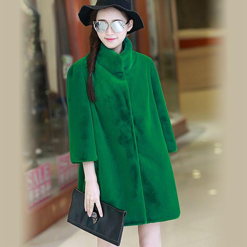 Streetwear Fluffy Épaississent Furry Stand Faux Femmes 6xl Nerazzurri De Taille Fourrure Plus Vert 2018 Green 5xl Manteau Veste Col Hiver P7qxSBz