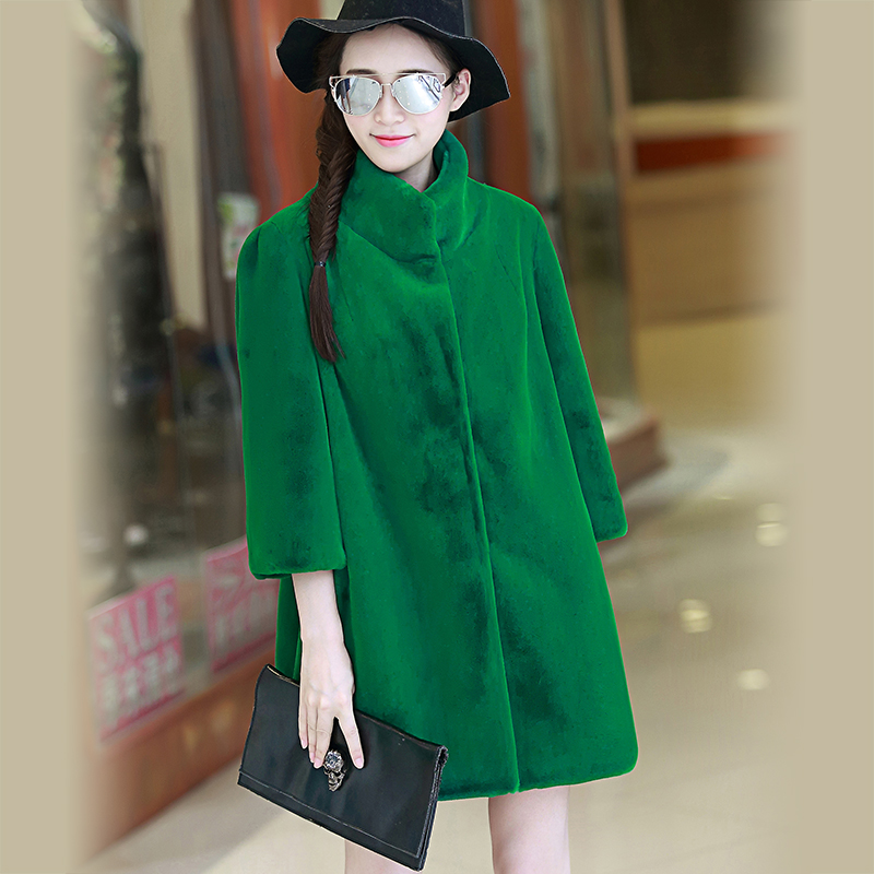 Nerazzurri Winter 2019 Faux Fur Coat Women Stand Collar Streetwear Green Fluffy Thicken Plus Size Furry Fake Fur Jacket 5xl 6xl