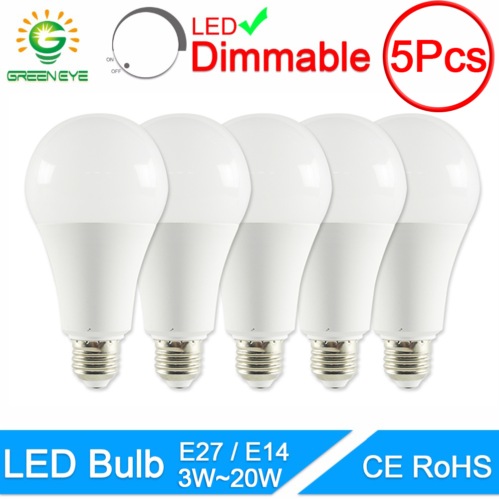 GreenEye 1PC/5Pcs LED Bulb Dimmable Lamps E27 E14 20W 18W 15W 12W 9W 5W 3W AC220V 240V Real Power Lampada LED Bombilla Ampoule