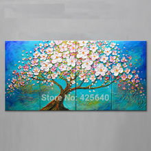 Oil painting On Canvas Wall Art Pictures Painting For Living Room multi Panel Abstract Palette Knife Hand Painted Cherry Tree