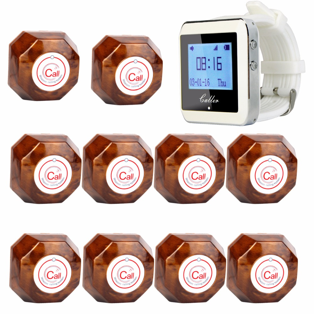 TIVDIO Wireless Calling System Restaurant Paging System with 1 Watch Receiver + 10 Call Button F3288B-F4409Y10 wireless calling pager system watch pager receiver with neck rope of 100% waterproof buzzer button 1 watch 25 call button