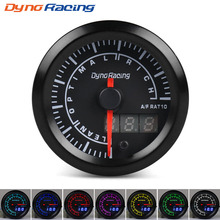 Dynoracing 52mm Dual Display Air fuel ratio gauge 7 colors Led meter Car with stepper motor Air/Fuel