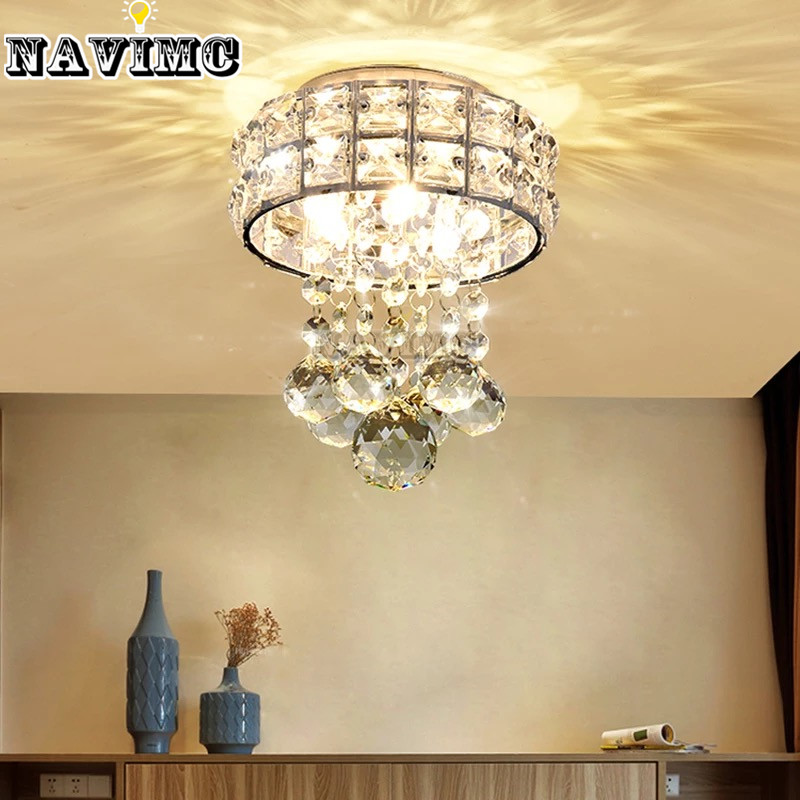 Modern Small K9 Crystal Ceiling Lights Porch Light Corridors LED Ceiling Lamp for Bedroom Living Room Entryway Cloakroom