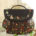 Vintage embroidery Saddle Floral Flap Cover Bags Leather PU Embroidered Women's Handbags Messenger Bags Totes Bolsa Feminina