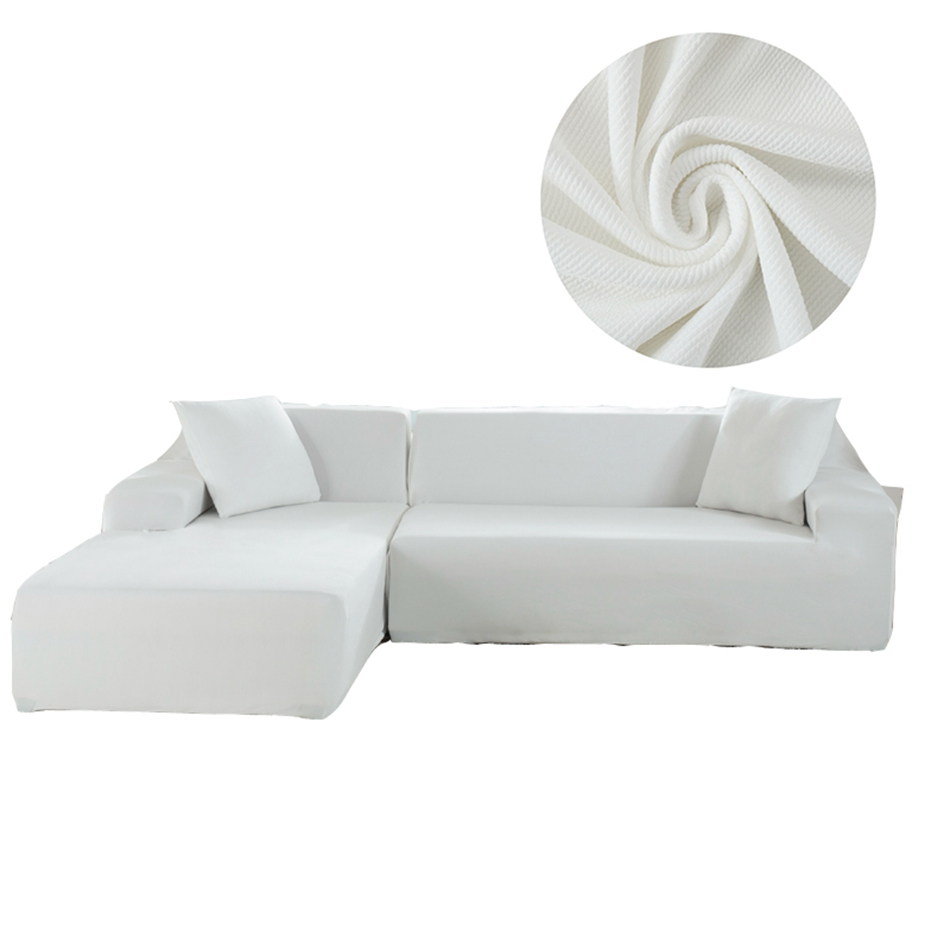 Us 65 19 59 Off No Cushion Covers White L Shape Sofa For Living Room Knitted Solid Color Elastic Sectional Slipcovers In