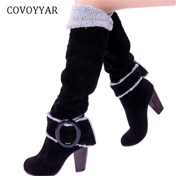 COVOYYAR 2019 Flock Knee High Boots Fashion Buckle Women Boots Thick High Heel Winter Shoes Woman Big Sizes 34~43 WBS105