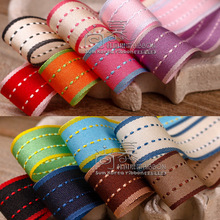 50yards 10/16/25/38mm stitched stripes korean ribbon for garment hat accessories hair bow head band craft supplies