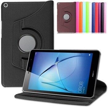 Перейти на Алиэкспресс и купить Чехол для планшета Huawei Media Pad T3 8,0 360 Вращающийся флип-чехол из искусственной кожи с подставкой умный чехол для планшета ПК Защитный для huawei T3 8...