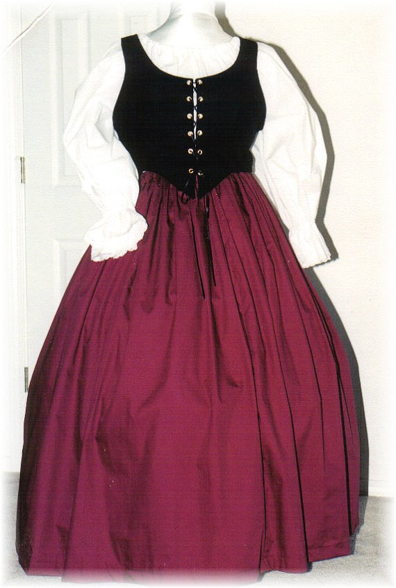 Burgundy Renaissance Gown Dress Plus Size Halloween Costume Adult