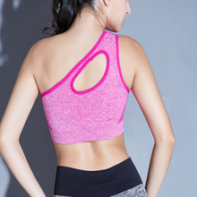 Купить с кэшбэком 2018 Sexy One Shoulder Solid Sports Bra Women Fitness Yoga Bras Gym Padded Sport Top Athletic Underwear Workout Running Clothing