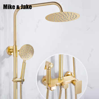 Gold brush shower set bathroom wall gold brush shower mixer luxury bathroom brush gold wall shower mixer bathtub hot & cold tap - DISCOUNT ITEM  40% OFF All Category