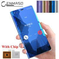 For Samsung Galaxy S9 plus case Smart touch flip mirror cover for Samsung galaxy S7 edge S8 plus case note 8 case with chip