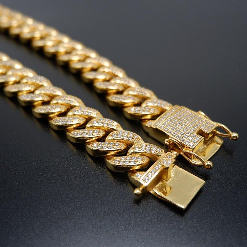 Hommes femmes Hip Hop MIAMI lien cubain plus cool chaîne collier cuivre coulée Micro cubique zircone fermoir glacé Bling bijoux - 4