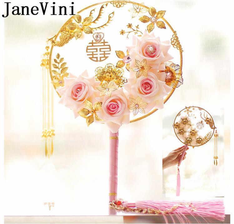 Janevini Elegan Cina Pengantin Penggemar dengan Perhiasan Mutiara Buatan Sutra Merah Muda Merah Buket Pernikahan Pengantin Mariage Aksesoris