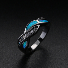 NEW Vintage Black Gun Plated Wave Blue Opal Rings for Women Fashion Jewelry Party Crossed Zircon Cocktail Ring for Wedding Gift