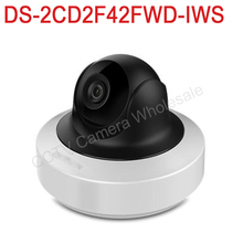 Free shipping DS-2CD2F42FWD-IWS English version 4MP WDR Mini PT Network cctv IP Camera wifi POE SD card recording, audio alarm
