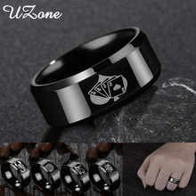 UZone Stainless Steel Spades Poker Ring Band Men Ring Cool Black 8 styles Rings Engagement Anel Jewelry Rings For Male(China)