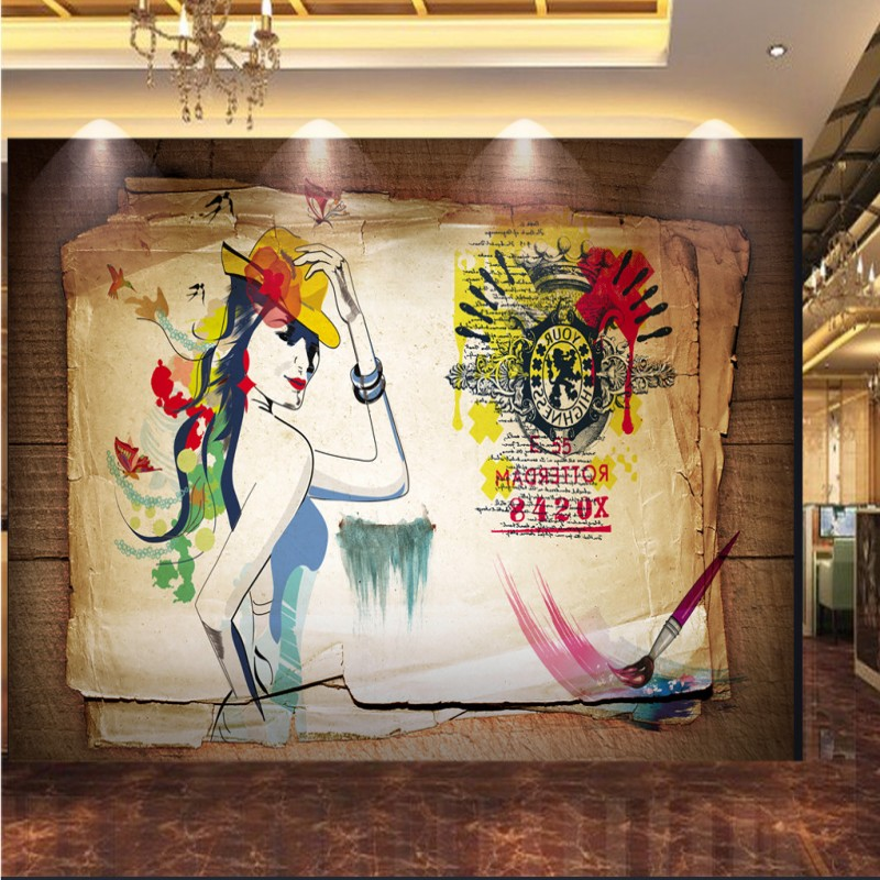 wallpaper 3d Retro nostalgic clothing shop mural corridor mall wallpaper graffiti beautiful dressing background wall mural