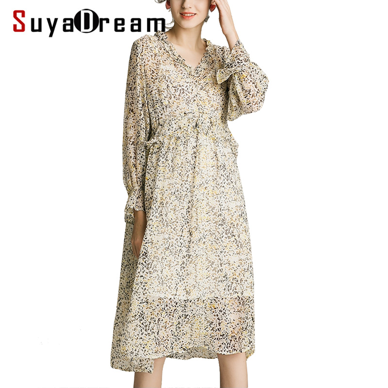 Women Silk Dress 100 SILK Georgette Printed Dress Transparent Long Sleeved Calf length Casual Dresses for