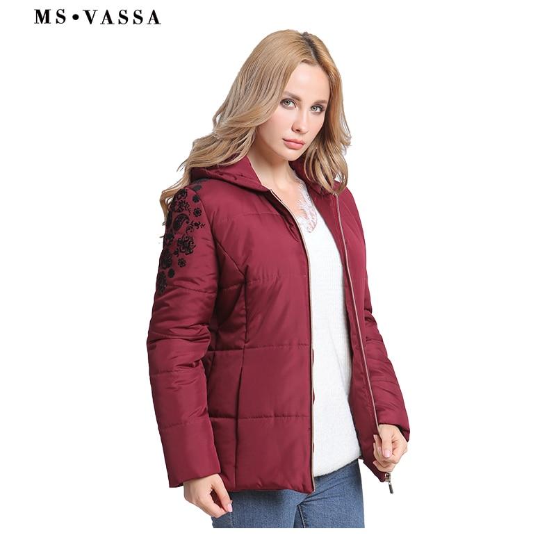 5801b4aa27d MS VASSA для женщин куртка новинка 2018 года Осень Дамы парка пальто для  будущих мам с капюшоном свободные стиль куртки плюс размеры верхняя