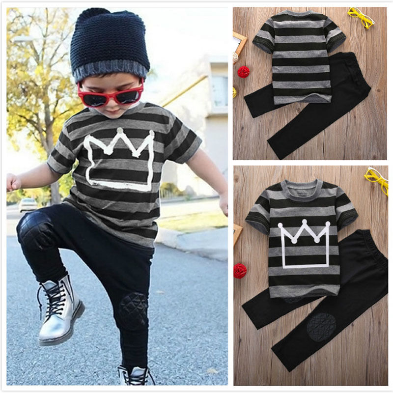 T-shirt Tops Pants 2pcs Children Cool Newborn Baby Boys Cotton Crown Striped Short sleeve Black Outfits Clothes Set Fashion Boys image