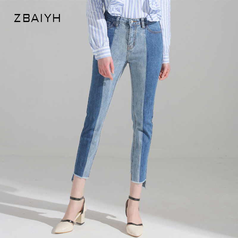 Autumn New arrival high waist loose straight jeans woman 2017 Fashion side Splicing color denim pants boyfriend ripped jeans women jeans autumn new fashion high waisted boyfriend street style roll up bottom casual denim long pants sp2096