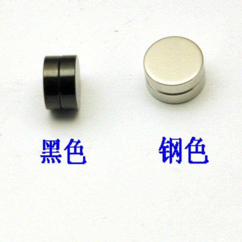 1Pair titanium earrings 6~ 12mm pierced ears pierced ears style hip hop Mens magnet ear clip Black Steel color can choose[4080]