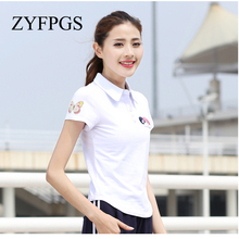 ZYFPGS 2019 Summer Large Size Embroidery Camisa Feminina Casual Ladies Horse Polos Slim Women Cotton Mujer L0519