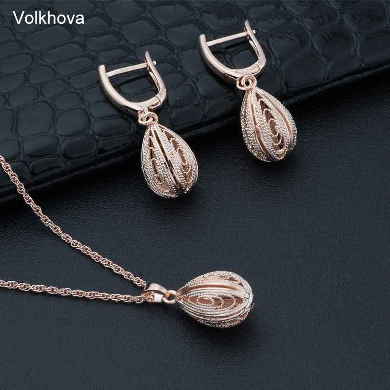 Volkhova Women s Jewelry Set Droplet Oval Openwork Long Necklace Earrings Set Fashion Hot Sale Accessories