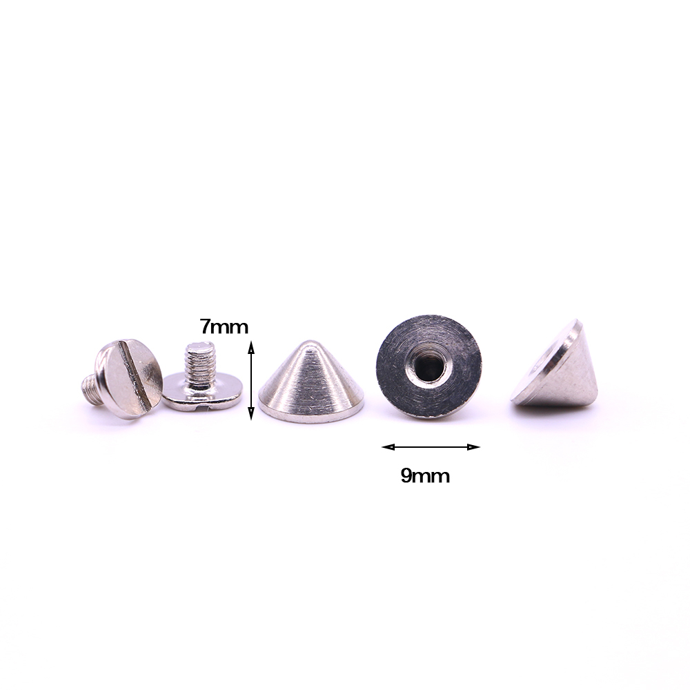 New 10sets/pack 9.5mm (Diameter), 6mm (Height)  studs spikes for clothing Silver Colors pyramid spikes belt screw rivet B-15