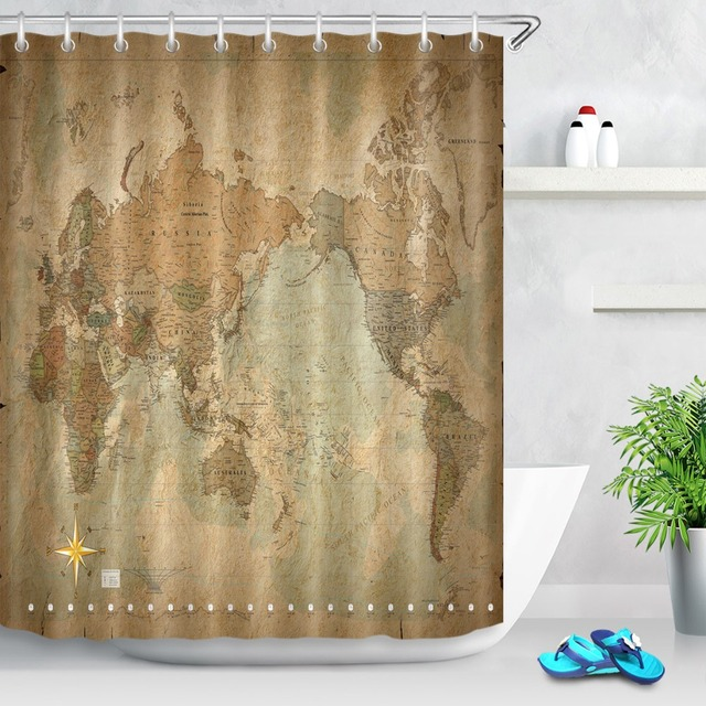 72 World Map On Antique Or Weathered Parchment Bathroom Waterproof Fabric Shower Curtain Polyester 12 Hooks Bath Accessory Set