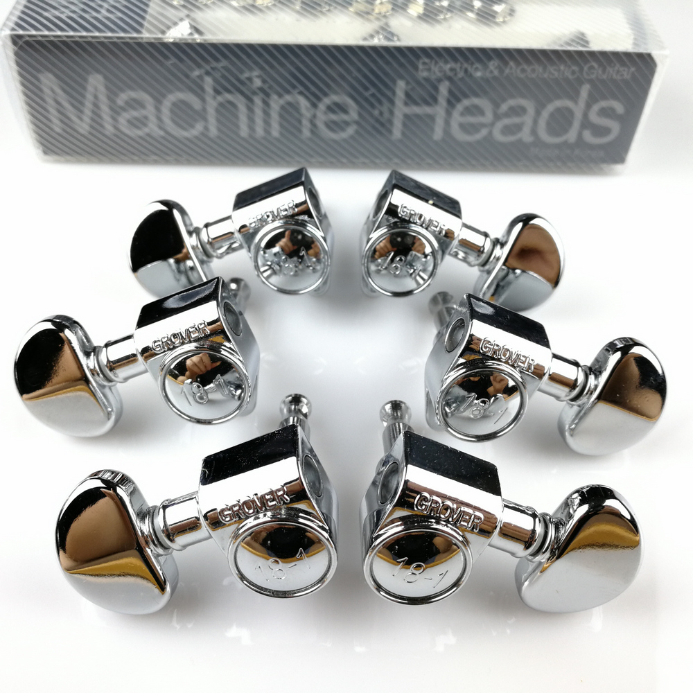Genuine Grover Electric Guitar Machine Heads Tuners 1Set 3R-3L Chrome Silver Tuning Pegs ( With packaging ) a set 6 pcs gold acoustic electric guitar lock schaller style locked string tuners tuning pegs key machine heads with big button