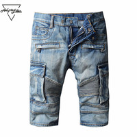 Aelfric Eden Summer Retro Men Denim Cargo Shorts Washed Do Old Classic Cowboy Shorts Casual Short