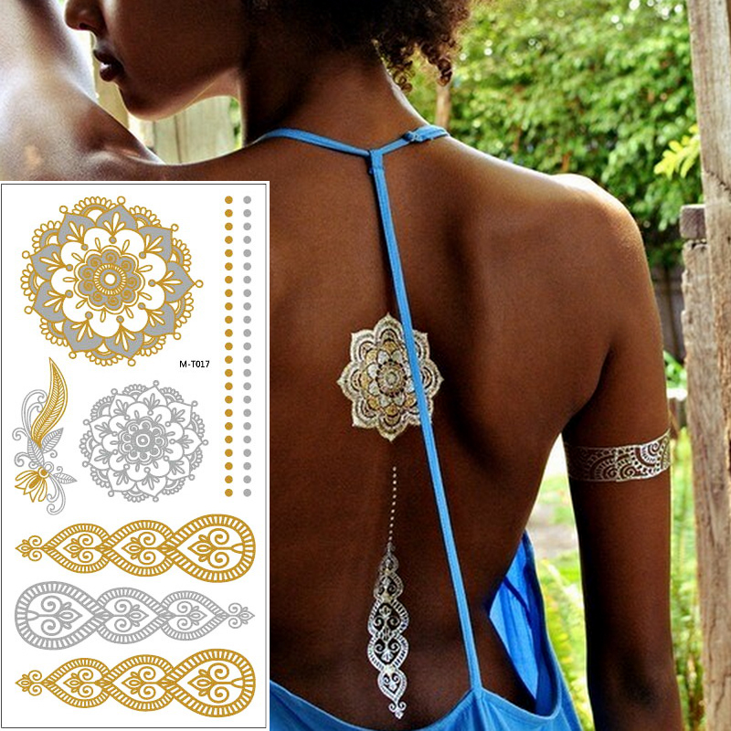 1sheet Indian Arabic Body Art Women Metallic Temporary Mandala Flash Tattoos Necklace Sticker Gold Lace Tatoo Tatuagem Maquiagem