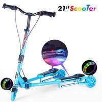 adult children kick scooter Foldable PU 2wheels bodybuilding all aluminum shock Flash wheel urban campus transportation 5 IN 1