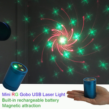 Sharelife Mini Portable RG Gobos Laser USB Light Built-in 1200MA Battery Magnetic Attraction for Home Party DJ Stage Lighting стоимость