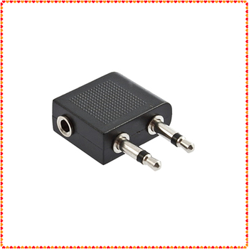 1pcs 3.5mm to 2 x 3.5 mm Stereo Ear Headset Headphone Audio Adapter Jack to Air Aircraft Airline Airplane New