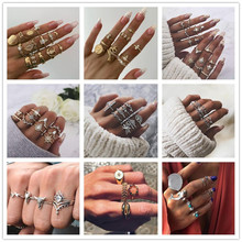 Tocona 20 Style Bohemia Vintage Gold Silver Rings Sets Shell Hollow Heart Carving Flowers Animal Geometric Crown For Men Women