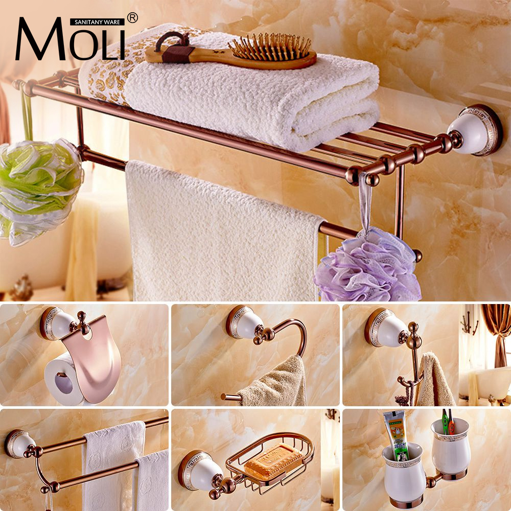 Chinese Style Ceramic Rose Gold Bath Hardware Bathroom Accessories Set Robe Hook Paper Holder Toilet Brush Holder Bathroom Set Hardware Bathroom Bath Hardwarebathroom Hardware Set Aliexpress