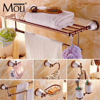 Chinese style Ceramic Rose Gold Bath Hardware Bathroom Accessories Set Robe Hook,Paper Holder,Toilet Brush Holder,bathroom set