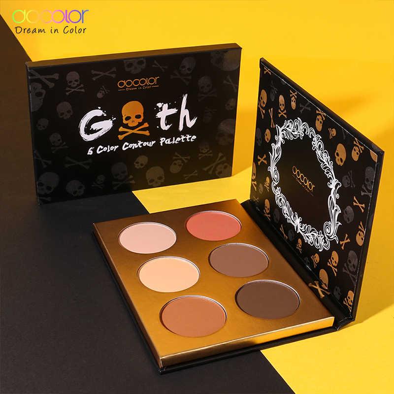 Docolor professinal פנים איפור 6 צבע bronzer וסימון צבעים סומק אבקת איפור זוהר ערכת סימון קונטור צבעים