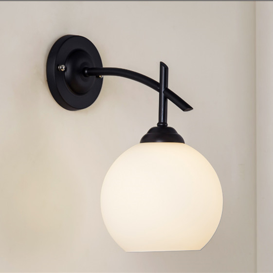 Brief Vintage American rustic single head wall lamp indoor use downwards porch light 220V E27 Lamp Holder Glass Lamp Shade american rustic single head wall lamp fashion vintage bed lighting wall lamp