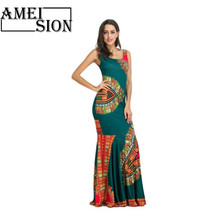 Ameision Bohemian Women's Summer Dresses Hippie Tribal Print Sleeveless Bodycon Maxi Tank Dress Party Club Female Long Vestidos