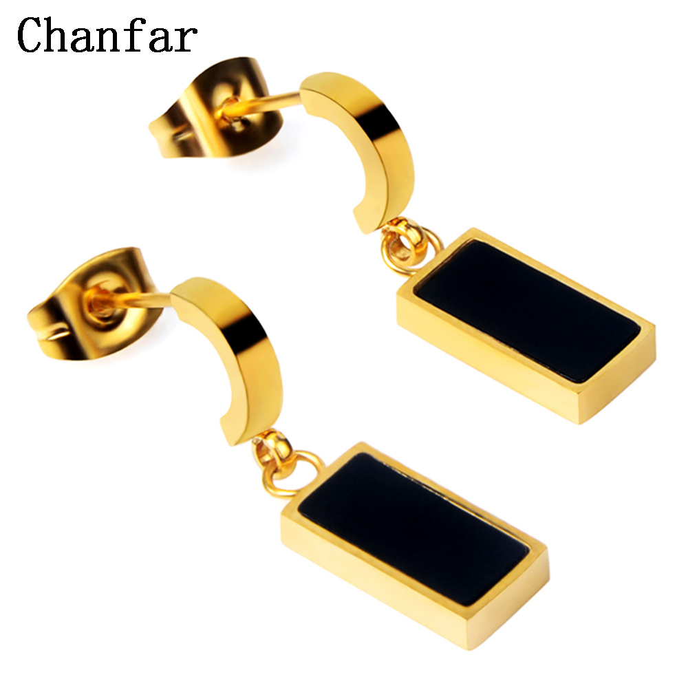 Chanfar Simple 4Colors Enamel Pendant Earrings Hip Hop Style Stainless Steel Silver Gold Color Earrings For Fashion Women Men