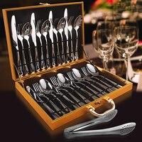 European 24 Pcs Flatware Stainless Steel Set Fork Spoon Knife Set Kitchen Flatware Gold Flatware Metal Stainless Steel 3DCJS24
