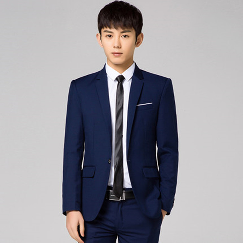 Business casual professional uncle groom wedding dress two-piece mens self-cultivation small suit